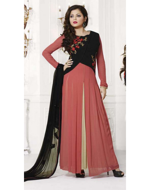 Madhubala Black and Salmon Semi Stitched Designer Suit