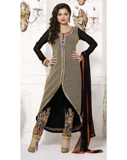 Drashti Dhami Black and Tan Semi Stitched Designer Suit