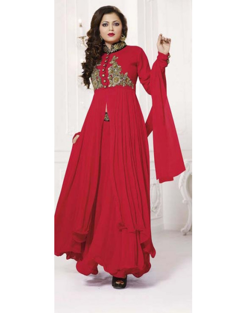 Madhubala Red Semi Stitched Designer Suit