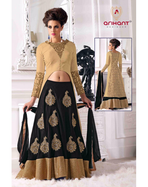 BurlyWood and Red Georgette Bhagalpuri Lehenga