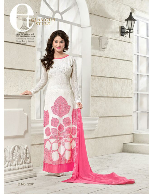 Heenakhan White and Pink Georgette Straight Suit