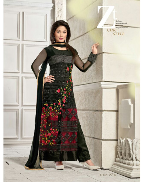 Heenakhan Black Georgette Straight Suit