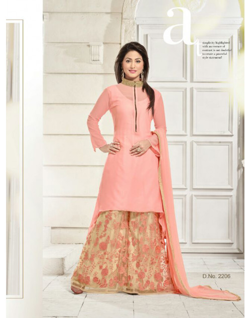 Heenakhan Pink and Light Brown Georgette Designer Plazo Suit