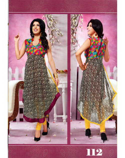 Charlie Chauhan Black and Grey Georgette Kurtis