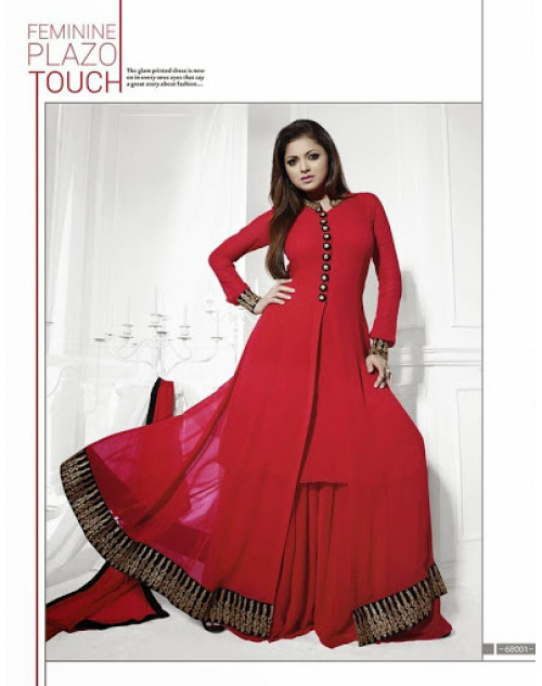 LT Vol. 68 - Red Designer Georgette Suit