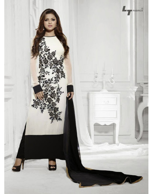 LT Vol. 68 - White and Black Designer Georgette Suit