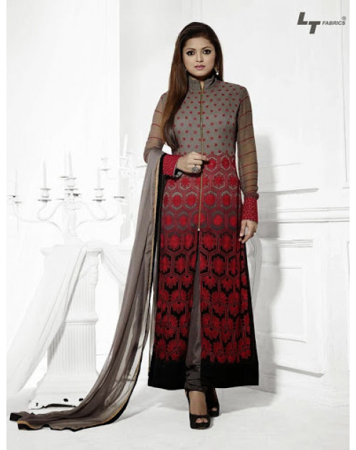 LT Vol. 68 - Black and Red Designer Georgette Suit