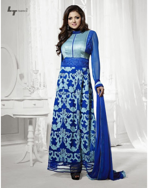 LT Vol. 68 - Blue Designer Georgette Suit