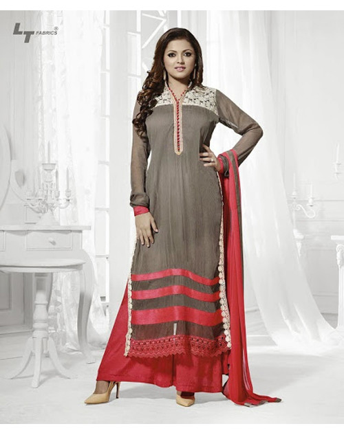 LT Vol. 68 - Dark Grey Designer Georgette Suit