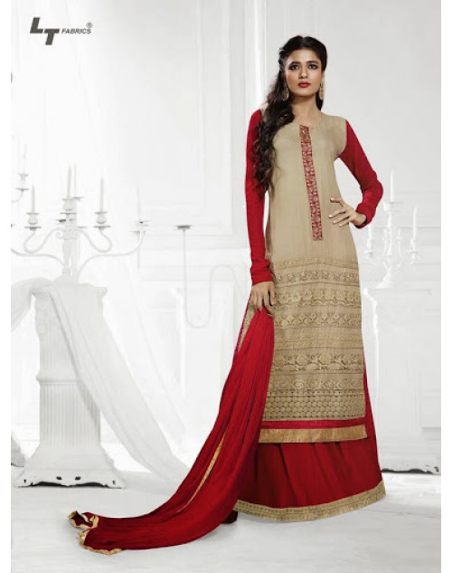 LT Vol. 68 - Light Golden and Red Designer Georgette Suit
