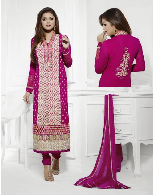 LT Vol. 68 - Deep Pink Designer Georgette Suit