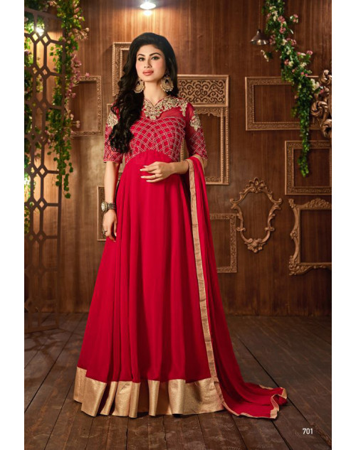Mouni Roy Red Designer Georgette Embroidered Salwar Kameez