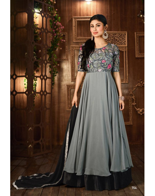 Mouni Roy Grey Designer Georgette Embroidered Salwar Kameez