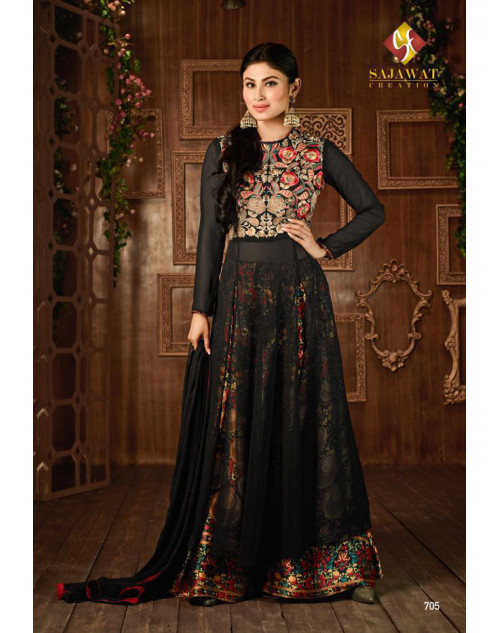 Mouni Roy Multi And Black Designer Georgette Embroidered Salwar Kameez