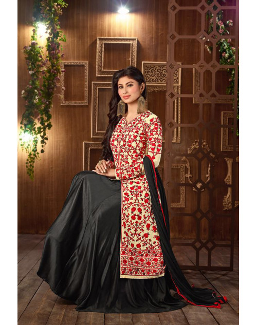 Mouni Roy Red And Black Designer Georgette Embroidered Salwar Kameez
