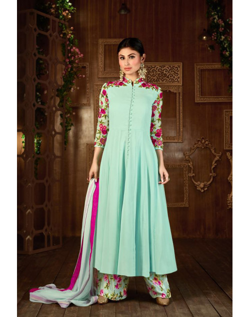Mouni Roy Aquamarine Designer Georgette Embroidered Salwar Kameez