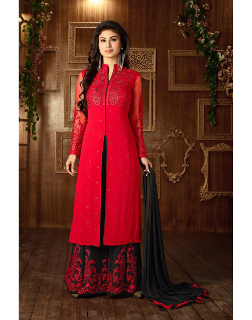 Mouni Roy Firebrick Designer Georgette Embroidered Salwar Kameez