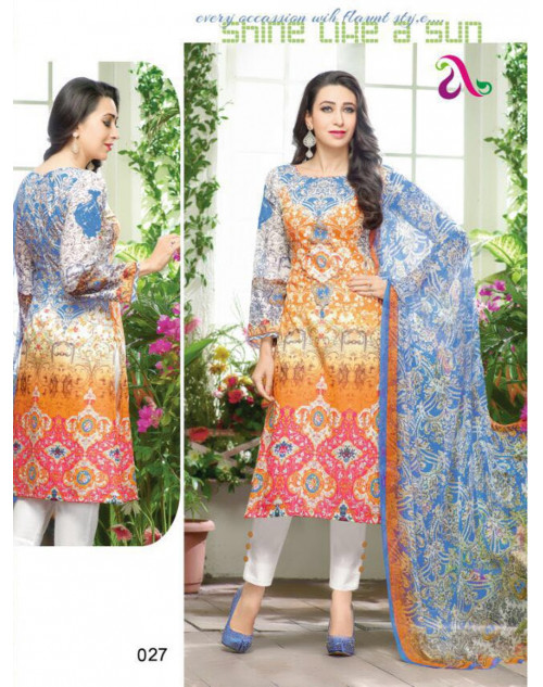 Karishma Kapoor LightSteelBlue And Orange Salwar Kameez