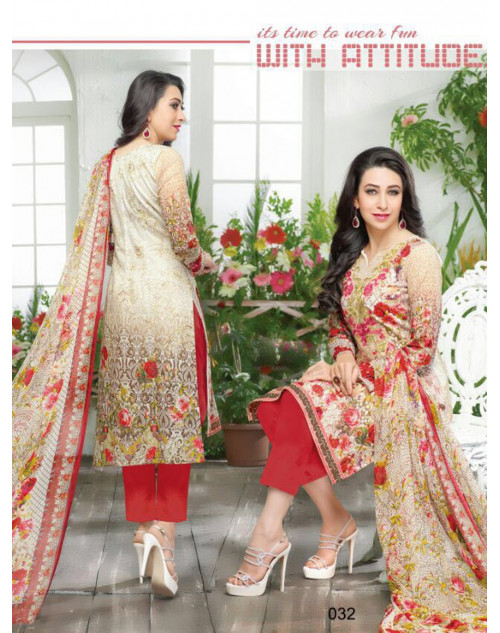 Karishma Kapoor Off-white and Crimson Salwar Kameez