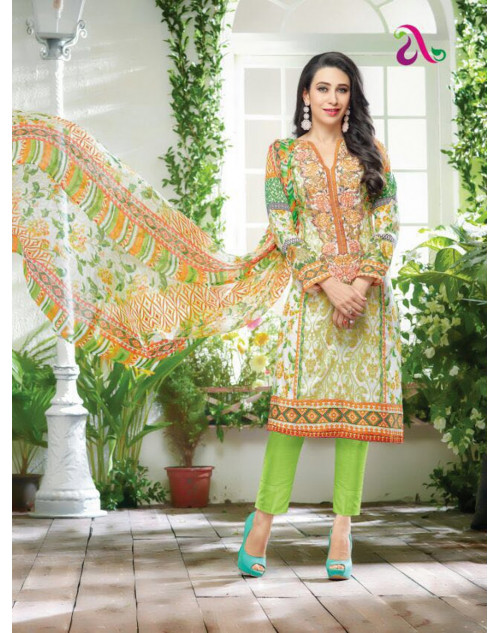 Karishma Kapoor Multi And LawnGreen Salwar Kameez