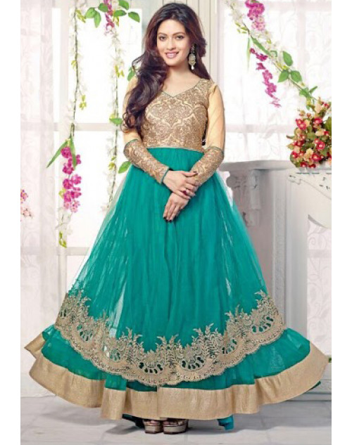 Riya Sen Designer LightYellow and SeaGreen Anarkali Suit