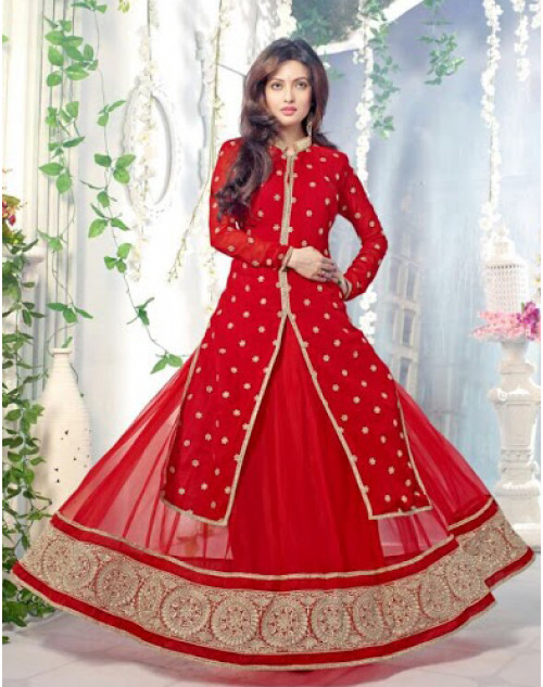 Riya Sen Designer Red Anarkali Suit