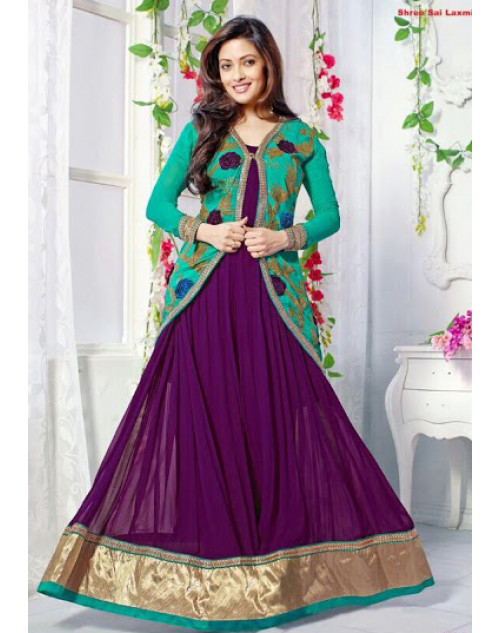 Riya Sen Designer SeaGreen and Purple Anarkali Suit