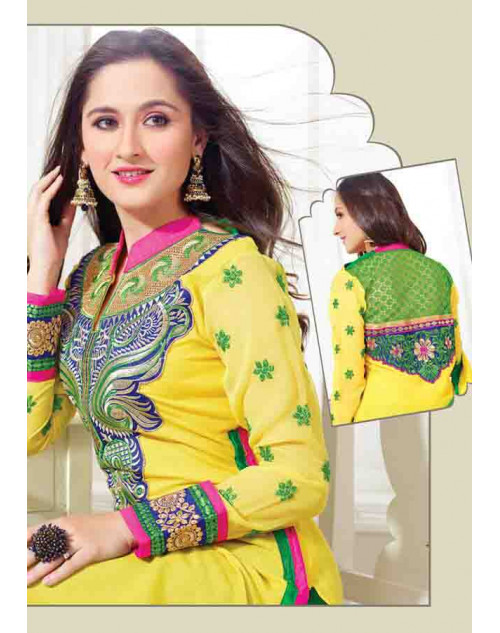 Sanjeeda Yellow Cotton Pakistani Style Suit