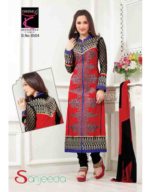 Sanjeeda Black and Tomato Cotton Pakistani Style Suit