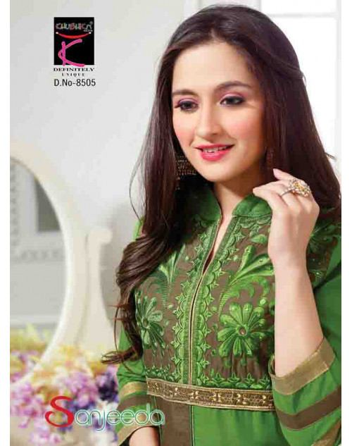 Sanjeeda SeaGreen Cotton Pakistani Style Suit