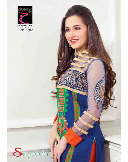 Sanjeeda Blue Cotton Pakistani Style Suit