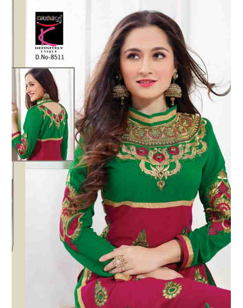Sanjeeda Pink and Green Cotton Pakistani Style Suit