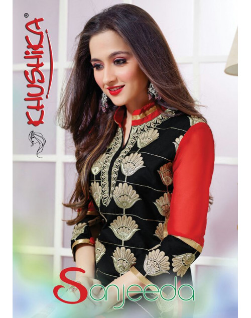 Sanjeeda Black and OrangeRed Cotton Pakistani Style Suit