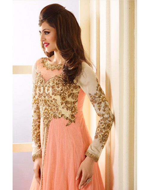 Urvashi Rautel Salmon Net And Faux Georgette Anarkali