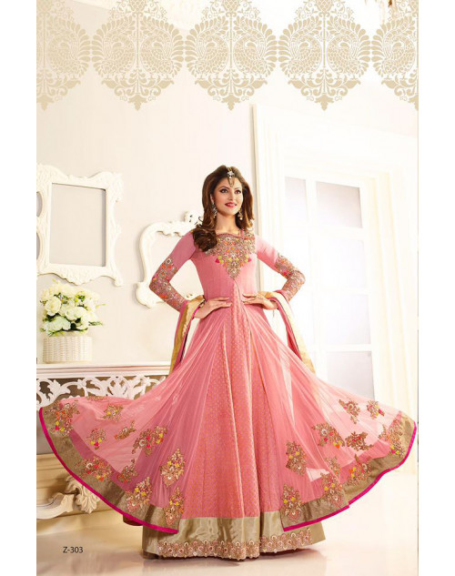 Urvashi Rautel LightPink Net And Faux Georgette Anarkali