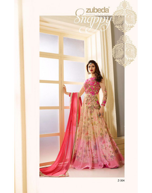 Urvashi Rautel Beige And DeepPink Net And Faux Georgette Anarkali