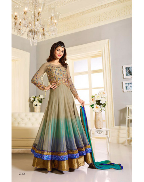 Urvashi Rautel Tan And Blue Net And Faux Georgette Anarkali