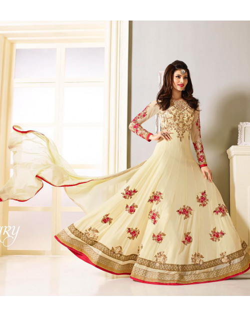 Urvashi Rautel Off-White Faux Georgette Anarkali