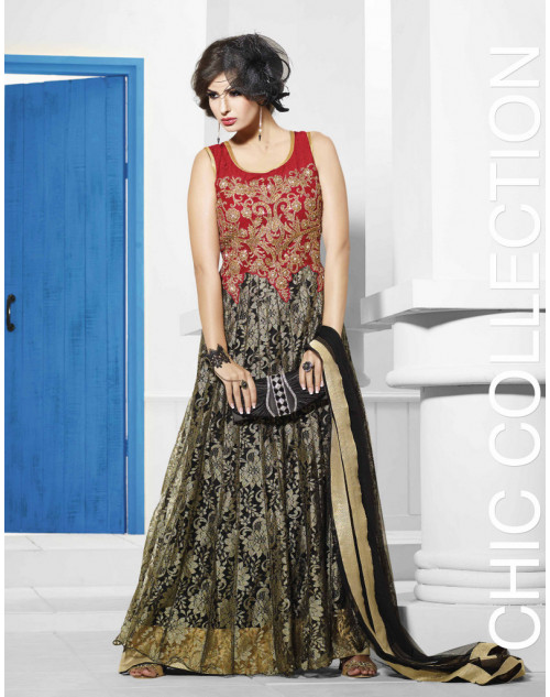 Zopim Red and Black Wedding Gown