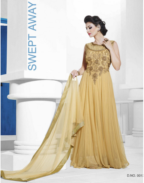 Zopim Golden Yellow Wedding Gown