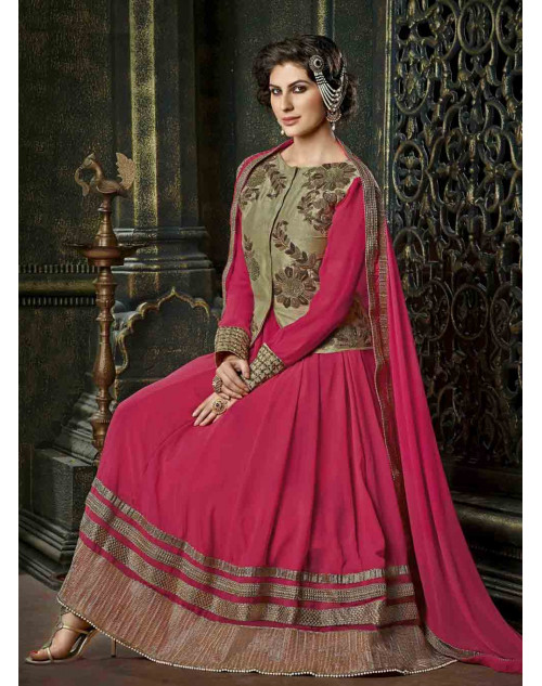 Pink Semi Stitched Georgette Embroidered Anarkali Suit