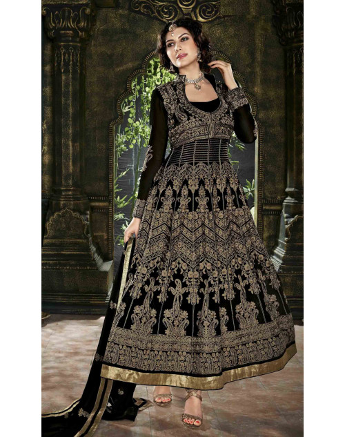 Black Semi Stitched Georgette Embroidered Anarkali Suit