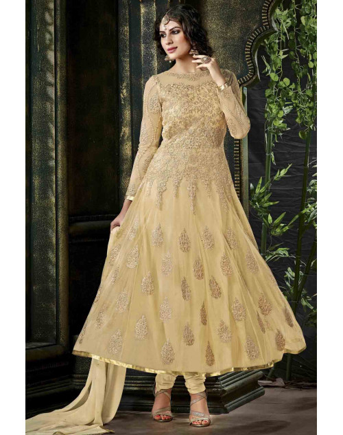 Cream Semi Stitched Net Embroidered Anarkali Suit