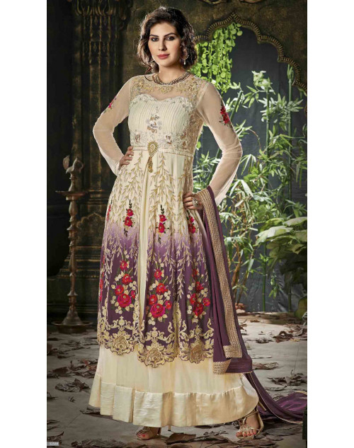 Cream and Violet Semi Stitched Net Embroidered Anarkali Suit