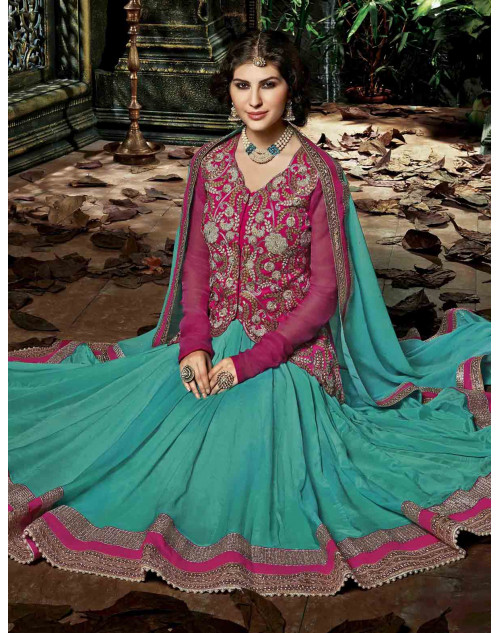 Blue Semi Stitched Chiffon Embroidered Anarkali Suit