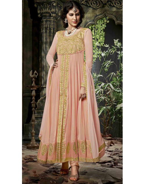 Peach Semi Stitched Georgette Embroidered Anarkali Suit
