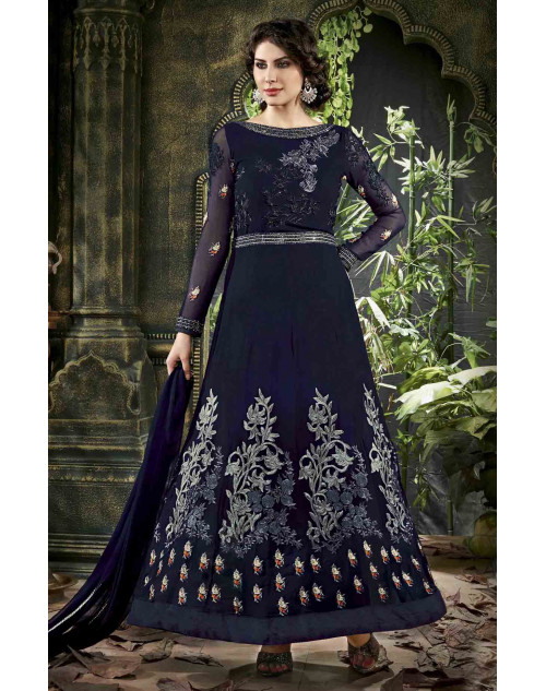 Navy Semi Stitched Georgette Embroidered Anarkali Suit