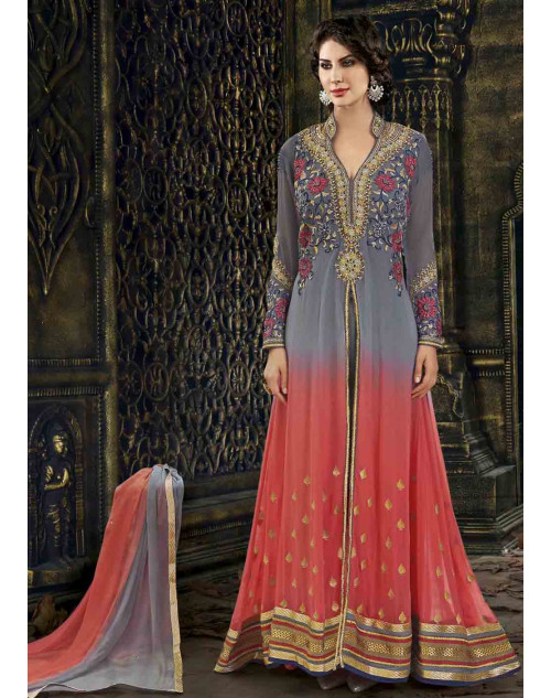 Grey Semi Stitched Georgette Embroidered Anarkali Suit