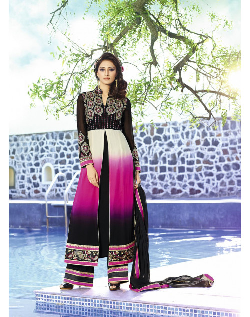 Black and Pink Royel Georgette Salwar Kamiz