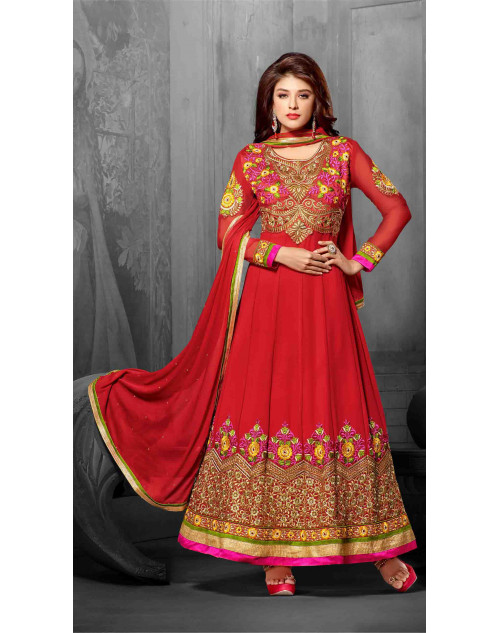 Red Semi Stitch Salwar Kamiz